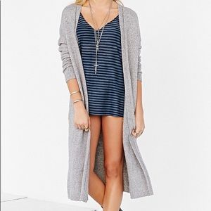 Long gray sweater duster